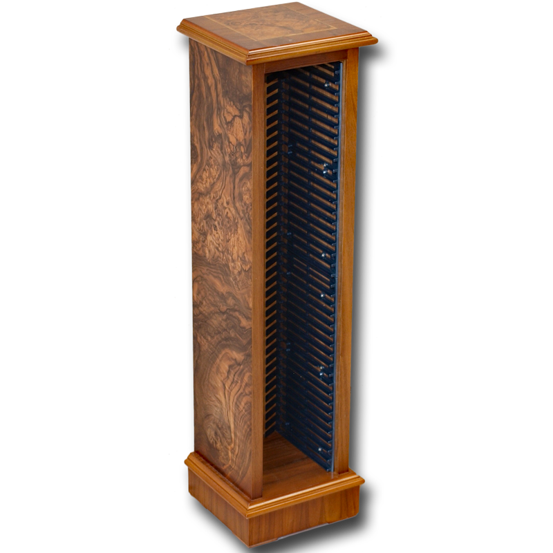 Reproduction Cd Storage Tower In Yew And Mahogany