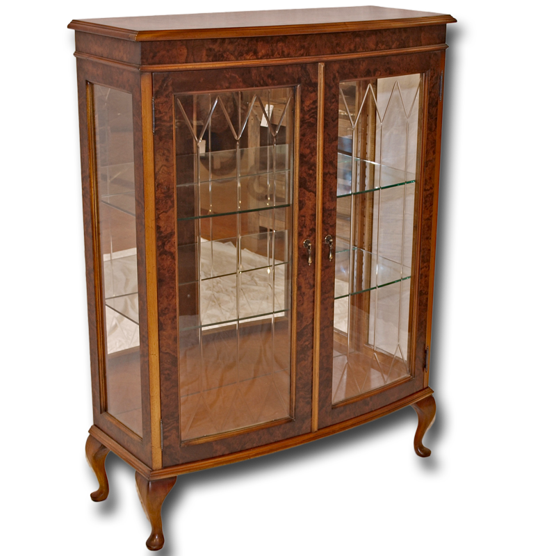 Reproduction Two Door Bow Front Display Cabinet In Yew And