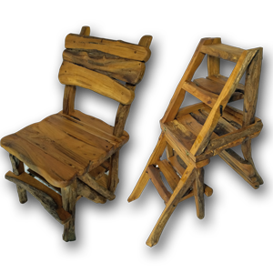 Teak Root Library Steps/Chair