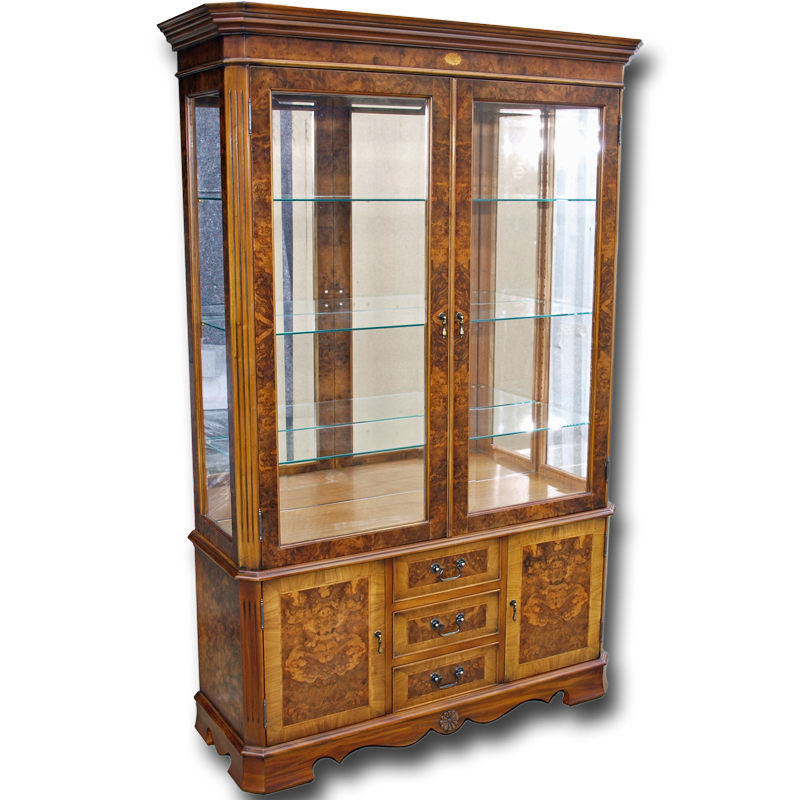 Marquetry Drawer Base Display Cabinet