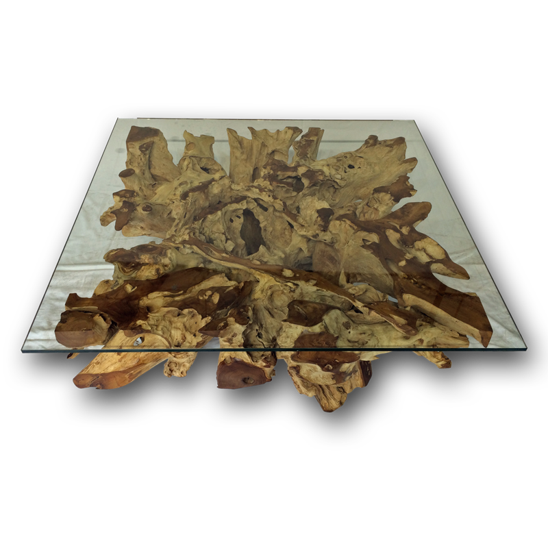Teak Root Coffee Table Uk: Teak Root/Stone Square Spider Coffee Table