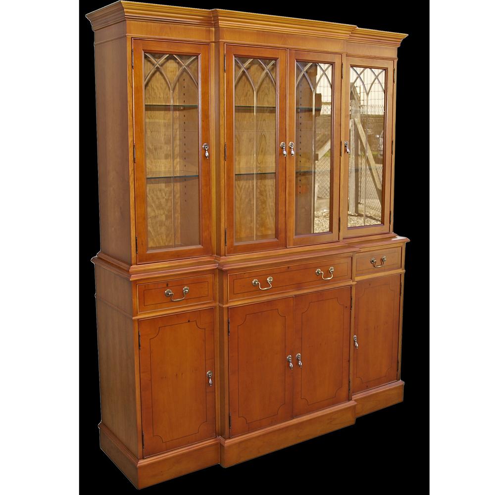 Reproduction 60 Breakfront Regency Glazed Bookcase In Yew