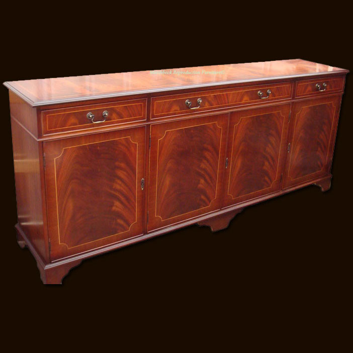 Reproduction foot regency sideboard in yew and mahogany