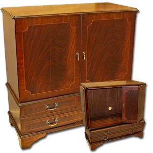 Reproduction Mahogany And Yew Wood TV Stands
