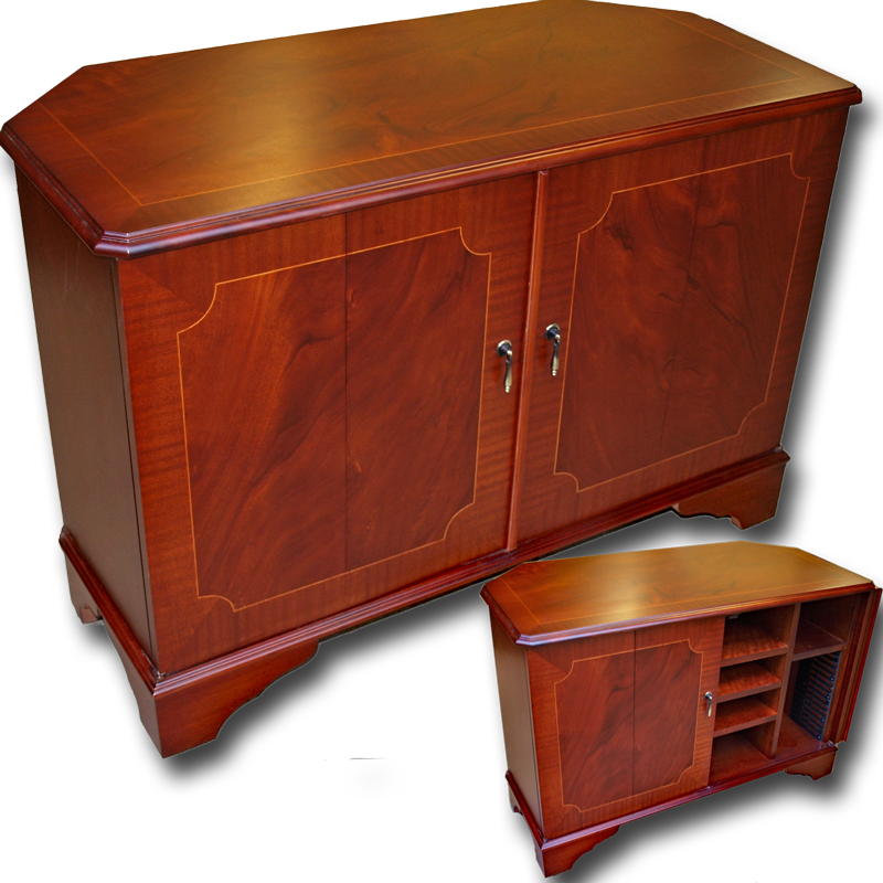 large corner tv stand with split folding doors. Black Bedroom Furniture Sets. Home Design Ideas
