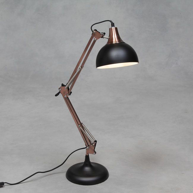 Matt Black Vintage Copper Arms Traditional Large Desk Lamp
