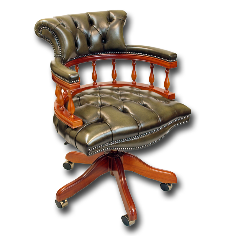 Traditional Reproduction Captains Swivel Desk Chair ...