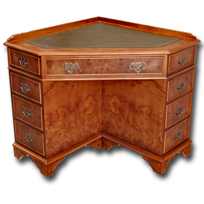 Corner Desk - Mahogany Writing Desks, Yew Writing Desks, Reproduction Writing Tables