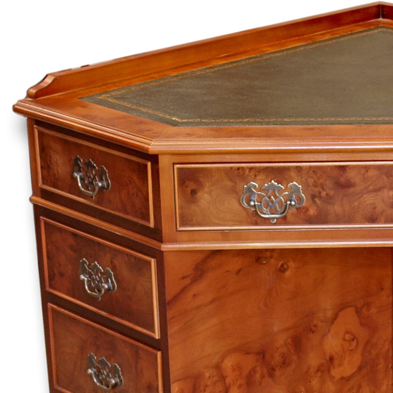 ... Antique Reproduction Corner Desk Thumbnail - Antique Reporduction Corner Desk In Yew And Mahogany