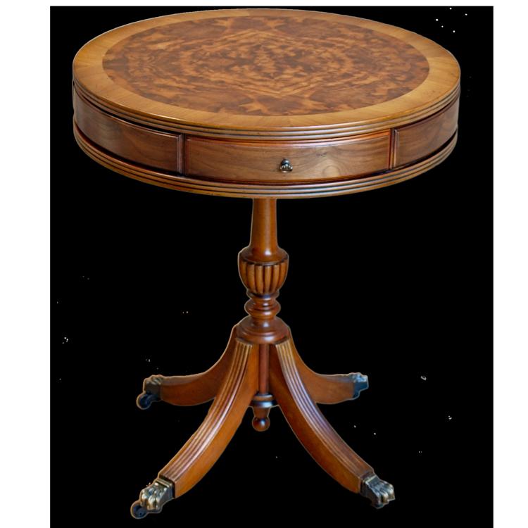 Burr Walnut Drum Table