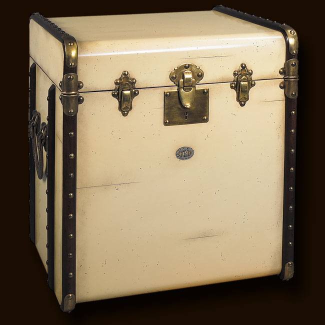 885dcb14340 Touch to zoom · Stateroom End Table Trunk, Ivory Ref  MF079 Victorian  luggage was made to be shipped by horse drawn coach and train travel.