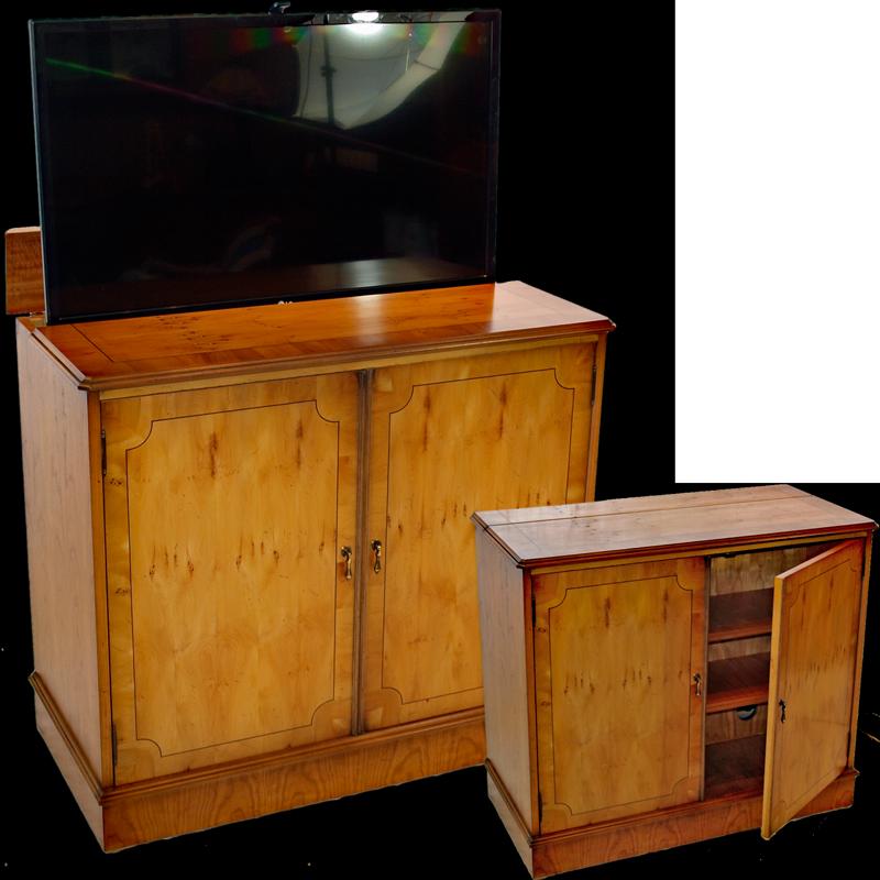 burr walnut stand with popup tv. Black Bedroom Furniture Sets. Home Design Ideas
