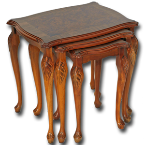 Burr Walnut Queen Anne Nest of Tables