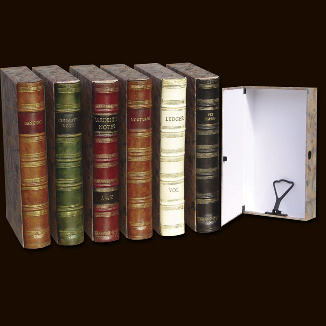 Box Files With Antique Book Spine By Faux Books