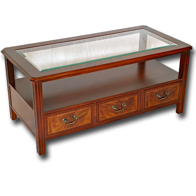 Reproduction Glass Top Chippendale Coffee Table In Yew Or Mahogany