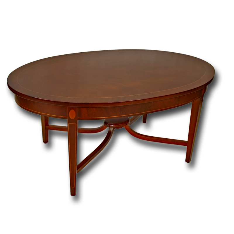 Reproduction Inlaid Oval Coffee Table In Yew Or Mahogany