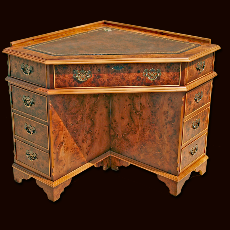 Antique Reporduction Corner Desk In Yew And Mahogany