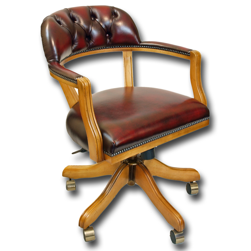 Reproduction Leather Court Swivel Desk Chair