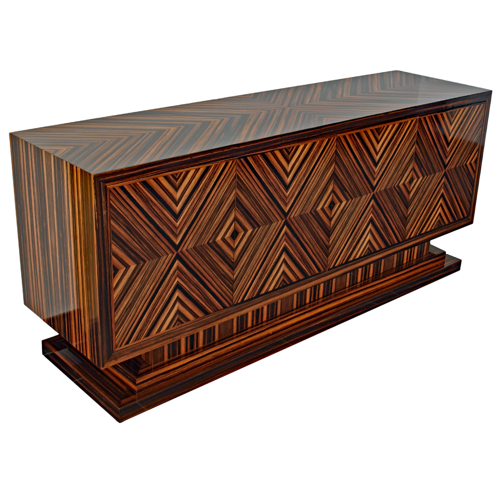 Bespoke Feathered Ebony Art Deco Sideboard