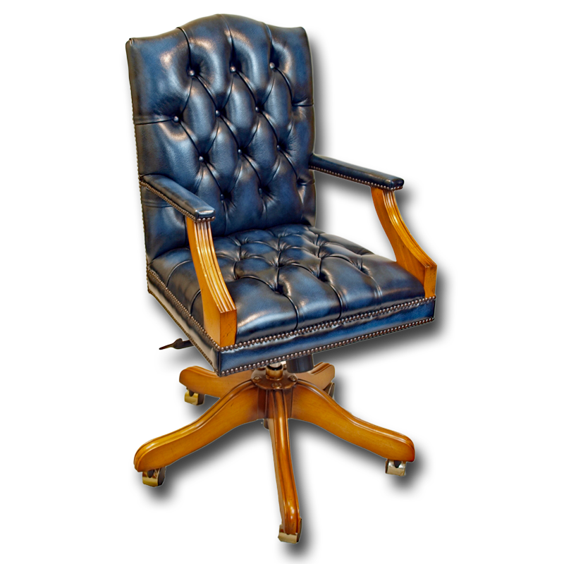 Reproduction Mini Gainsborough Leather Swivel Chair