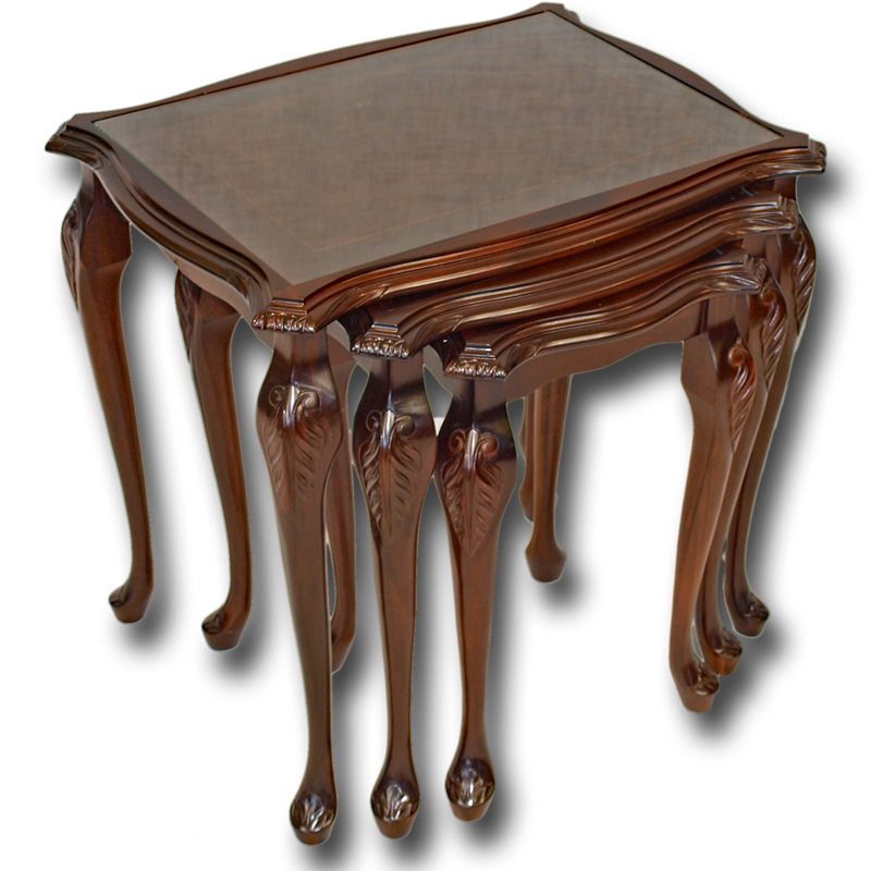Yew Glass Topped Coffee Table: Reproduction Queen Anne Glass Nest Of Tables In Yew And