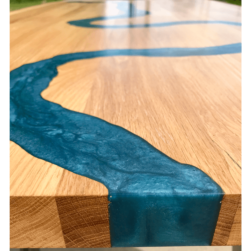 Oak Amp Blue Resin River Dining Table Sold