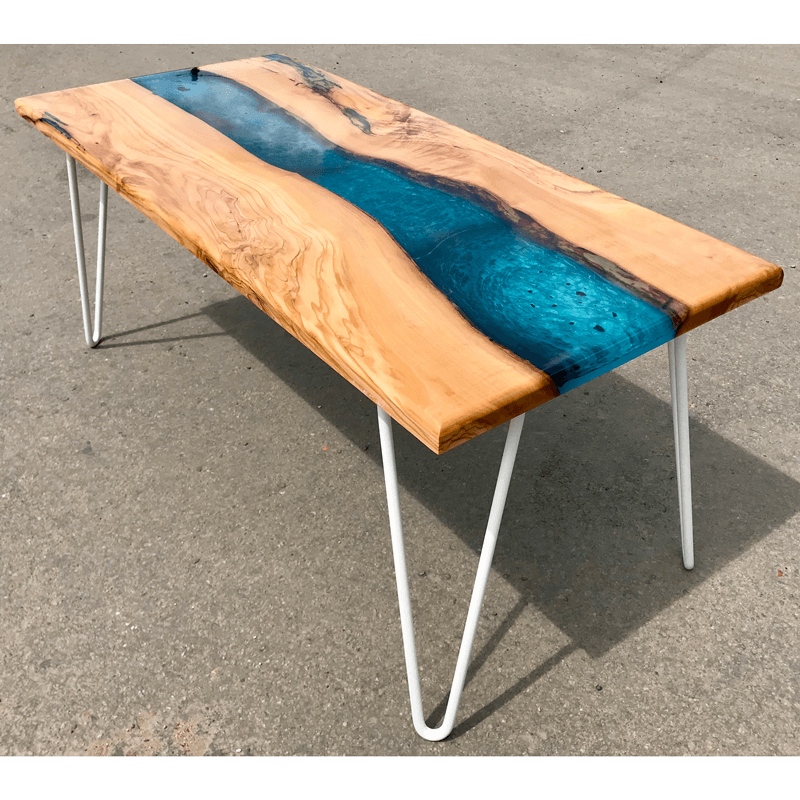Olive Wood Resin River Coffee Table