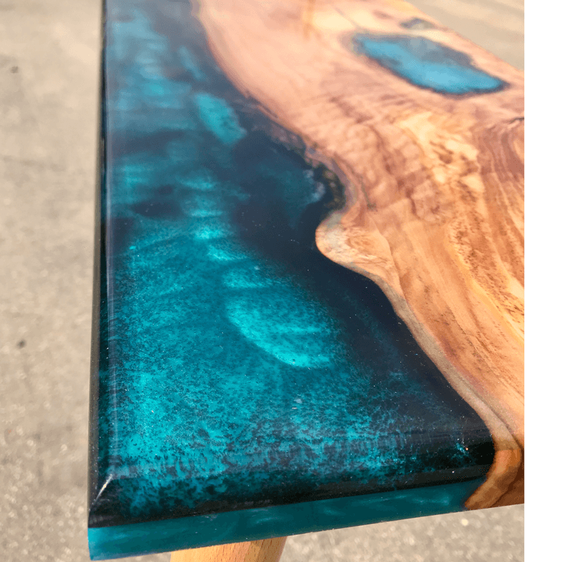 Olive Wood Amp Blue Resin River Console Table Live Edge Uk