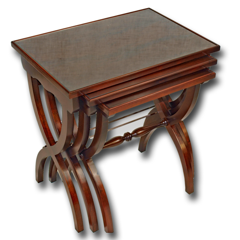 Reproduction Roman Nest Of Tables In Yew Burr Walnut And Mahogany