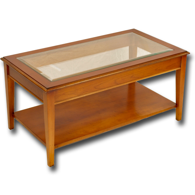Reproduction Sheraton Coffee Table With Glass Top In Yew And Mahogany And Bespoke