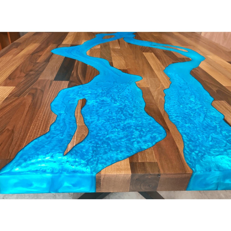 Walnut Amp Blue Green Resin River Dining Table