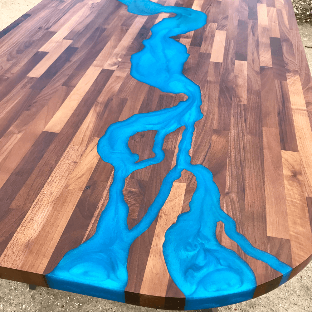 Walnut Amp Blue Resin River Dining Table