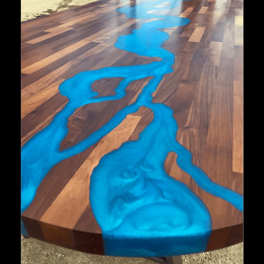 Walnut amp Blue Resin River Dining Table