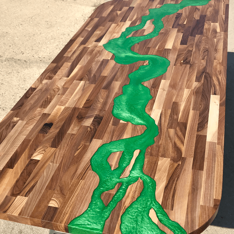 Walnut Amp Green Resin River Dining Table Sold