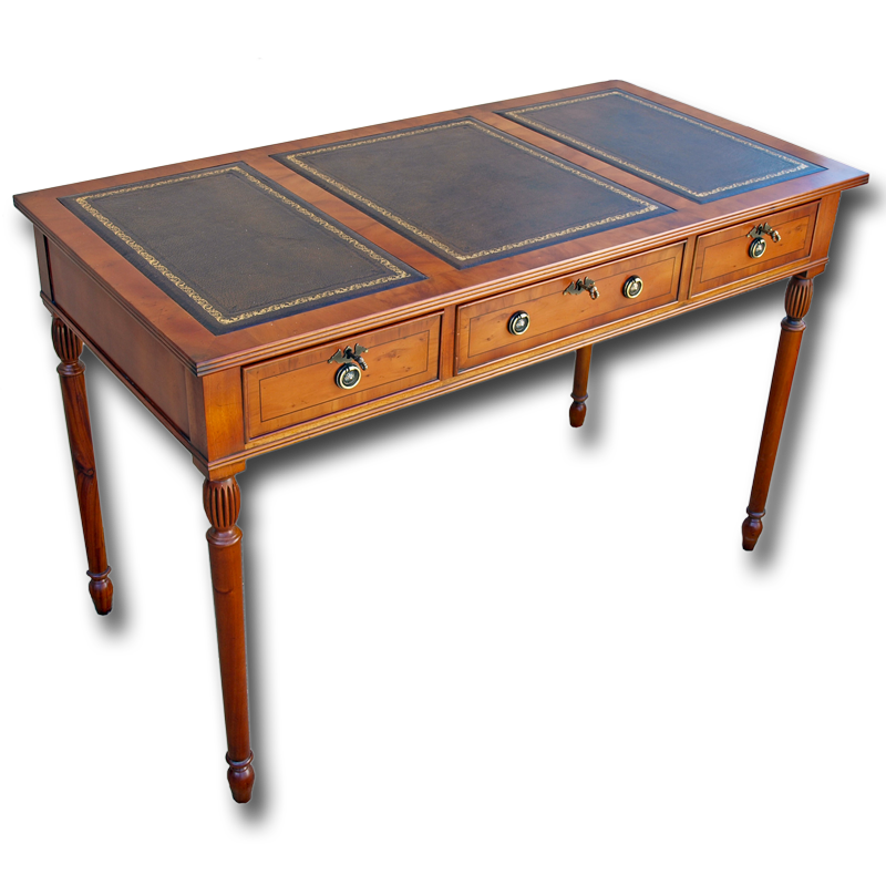 Reproduction Writing Desk In Yew Or Mahogany Woods