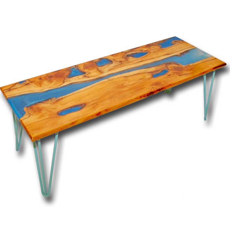 Yew Glass Topped Coffee Table: Live Edge Yew Wood & Blue Resin River Coffee Table