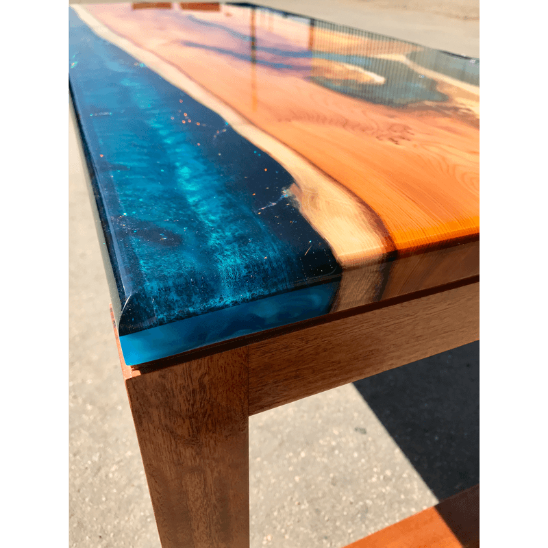 Transparent Coffee Table Uk: Yew & Reef Blue Resin River Coffee Table Live Edge UK