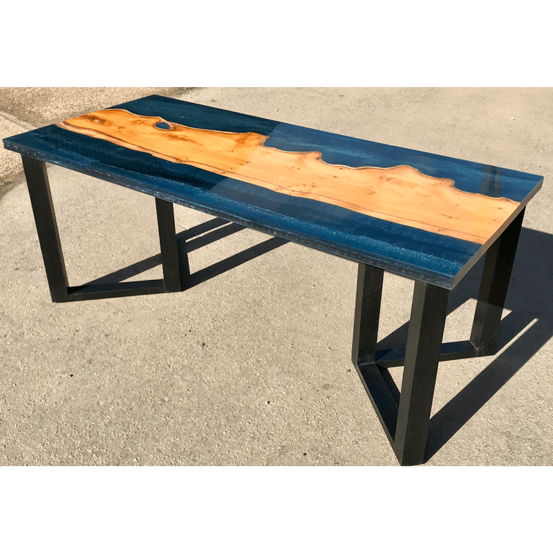 Transparent Coffee Table Uk: Yew Wood & Dark Blue Resin River Coffee Table
