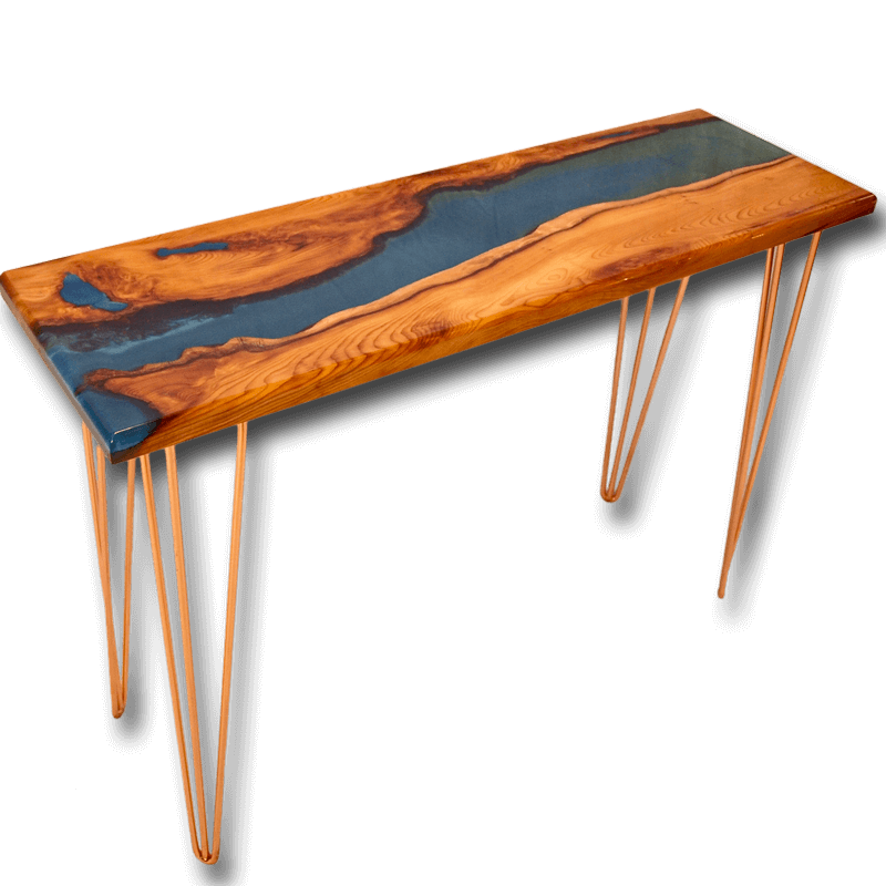 Live edge yew wood blue resin river console table for Yew sofa table