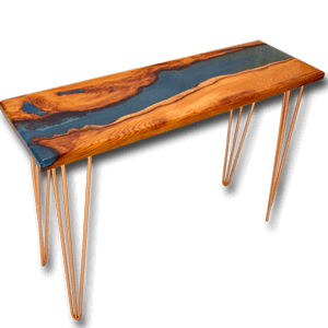 Live Edge Yew Wood & Blue Resin River Console Table