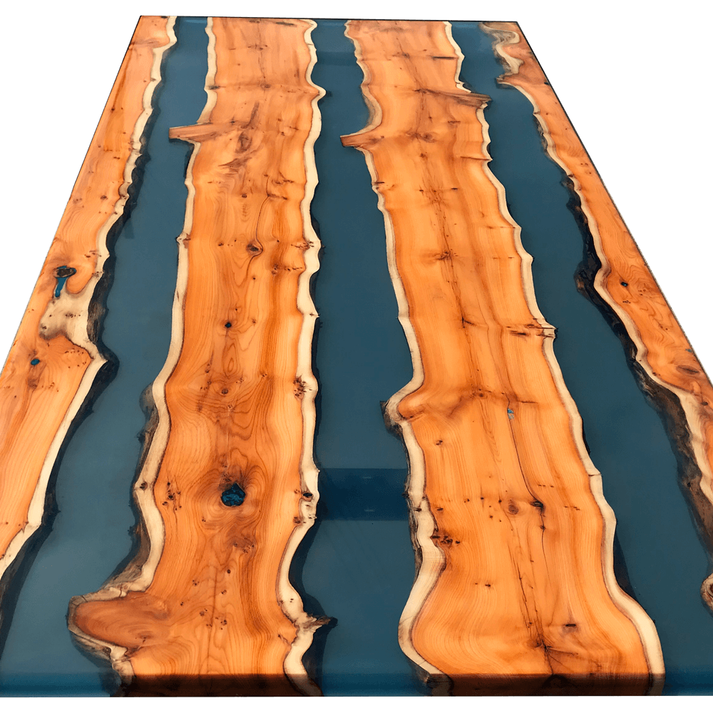 Yew Wood Amp Clear Blue Resin River Dining Table