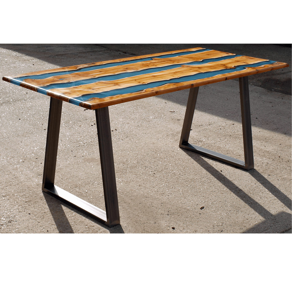 Transparent Coffee Table Uk: Yew Wood & Clear Blue Resin River Dining Table