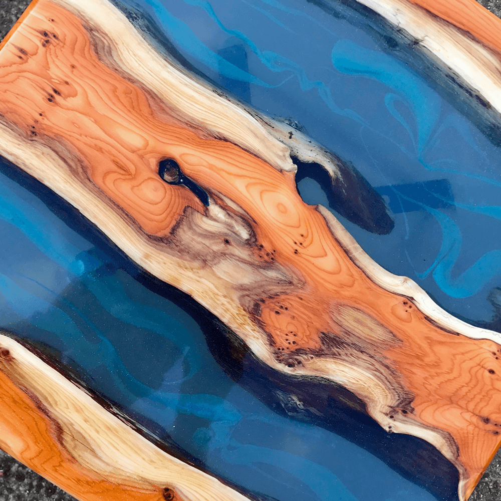 Yew Wood Amp Blue Resin River Side Tables Pair