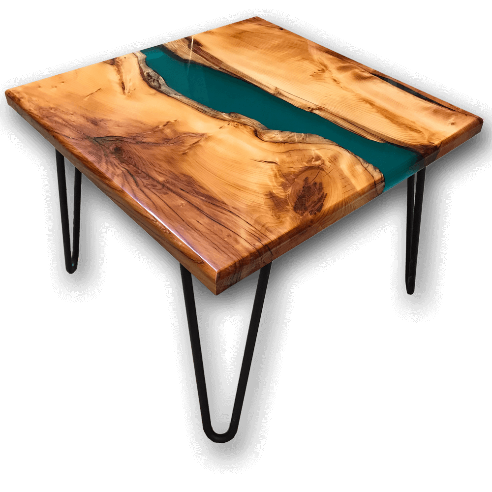 Yew Wood Amp Green Resin River Side Table