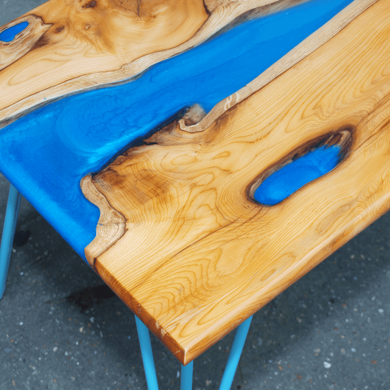 Live edge yew wood blue resin river coffee table for Wood coffee table kits