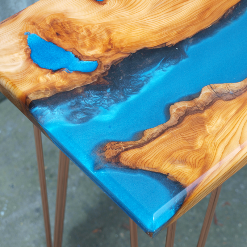 live edge yew wood  u0026 blue resin river console table
